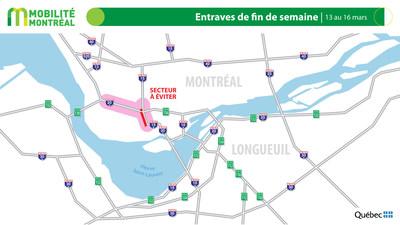 Carte générale des entraves, fin de semaine du 13 mars (Groupe CNW/Ministère des Transports)