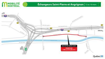 Rue Notre-Dame Ouest, secteur Angrignon, fin de semaine du 13 mars (Groupe CNW/Ministère des Transports)