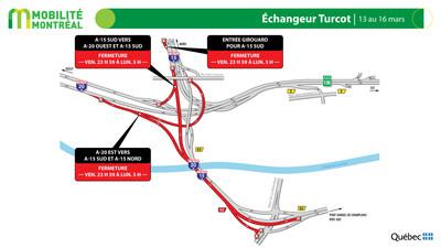 A15 sud et échangeur Turcot, fin de semaine du 13 mars (Groupe CNW/Ministère des Transports)