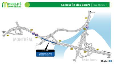 A15 sud à la sortie 60, du 15 au 16 mars (Groupe CNW/Ministère des Transports)