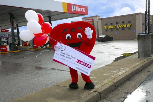 Pilot Company thanks guests and team members for raising a record-breaking $1,680,237 in support of the American Heart Association's 'Life is Why We Give' campaign with a check presentation at a Pilot Travel Center on March 11, 2020.