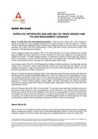 Africa Oil Reiterates 2020 and 2021 Oil Price Hedges and Its 2020 Management Guidance (CNW Group/Africa Oil Corp.)