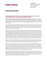 Lundin Mining Provides Statement on Readiness and Response to COVID-19, Including Suspension of Zinc Expansion Project Activities (CNW Group/Lundin Mining Corporation)