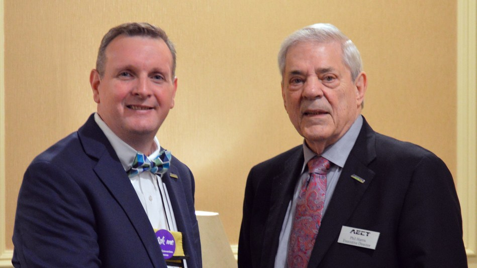 AECT President and Professor at the University of South Carolina Michael Grant (left) and AECT Executive Director Phillip Harris (right).