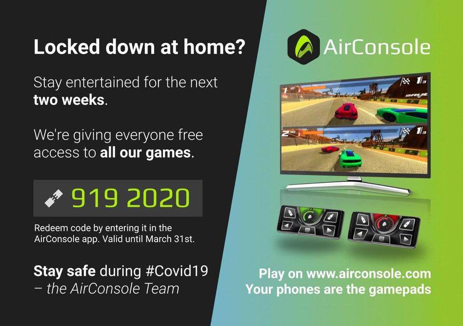AirConsole Covid Code (PRNewsfoto/AirConsole)