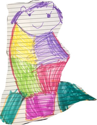 Drawing of a mermaid by Lana Lavergne, age 5, for local nursing home and assisted living residents in Lafayette, LA.