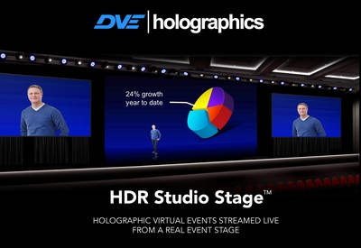 DVEholographics HDR Studio Stage provides live events with holographic presenters streamed to massive online audiences.