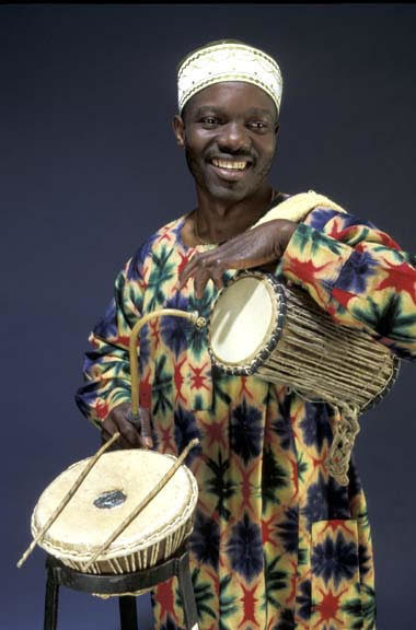 Sikiru Adepoju, the Nigerian talking drum and other traditional drums master with two Grammy Awards.