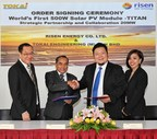 Risen Energy to provide 20MW of 500W modules to Malaysia-based Tokai Engineering, representing the world's first order for the more powerful modules