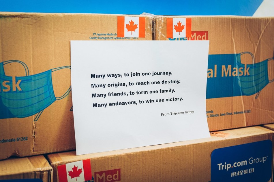 Trip.com Group donated surgical masks to various countries with words of encouragement. (Canada, pictured)