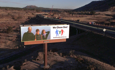 One Planet, One Child billboard on I-25 between Denver and Colorado Springs