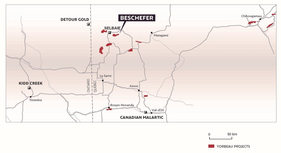 Figure 1. Location map of Yorbeau's projects, Quebec, including Beschefer property. (CNW Group/Yorbeau Resources Inc.)