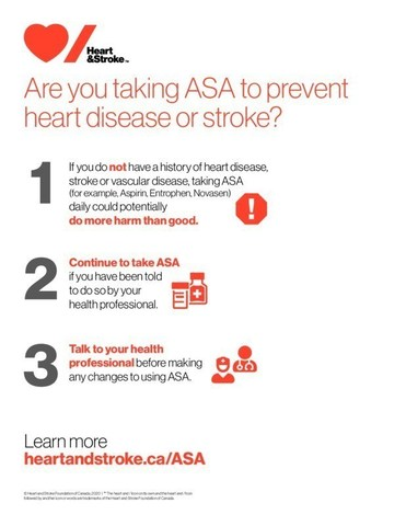 ASA guidelines (CNW Group/Heart and Stroke Foundation)