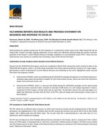 Filo Mining Reports 2019 Results and Provides Statement on Readiness and Response to COVID-19 (CNW Group/Filo Mining Corp.)