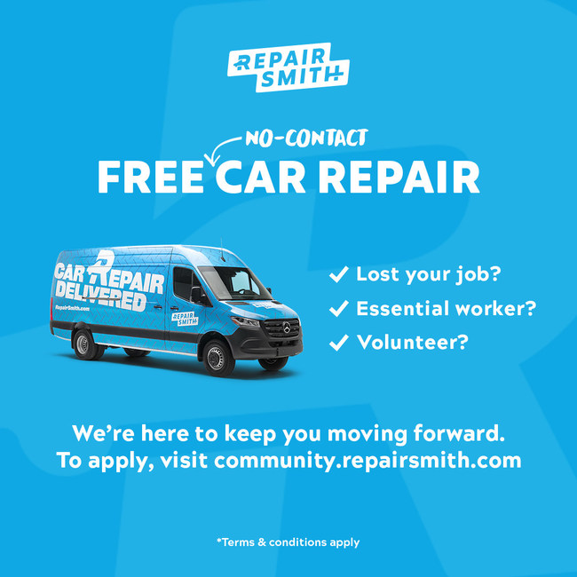 Starting today, in California and Las Vegas, free car repairs are available to car owners who are severely impacted by COVID-19, either via loss of employment or acting as a frontline worker to their community. This includes government workers, service workers, delivery drivers, healthcare professionals, employees of grocery stores and pharmacies, volunteers and others who require the use of a functioning car, in locations where RepairSmith currently operates.