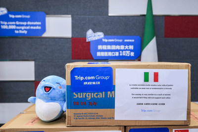 Trip.com Group donated surgical masks to various countries with words of encouragement. (PRNewsfoto/Trip.com Group)