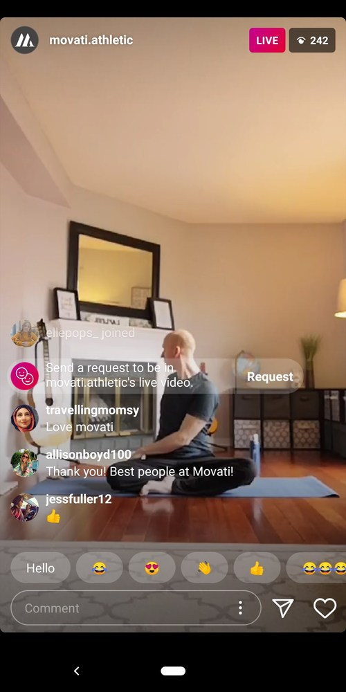Movati Athletic certified yoga instructor Ron Lafleur conducts a live online yoga session open to Canadians as part of Movati's series of daily live sessions available on Instagram and Facebook Live to all Canadians at no cost. (CNW Group/Movati Athletic)