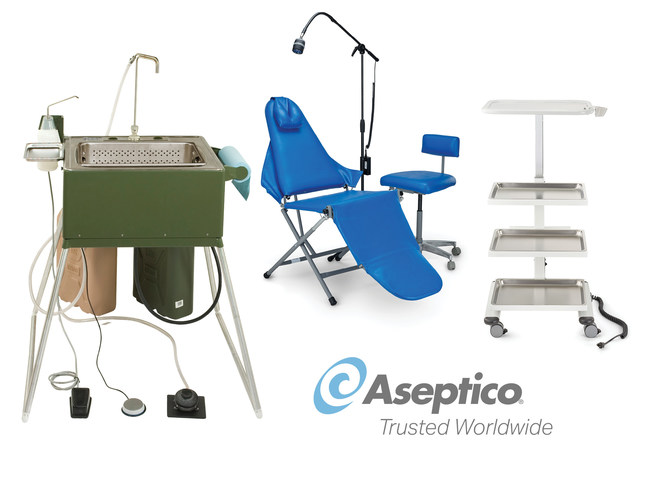 Aseptico offers a broad range of portable equipment that may assist medical professionals and other public entities fighting the coronavirus (COVID-19) pandemic, including Portable Surgical Scrub Sinks and Portable Field Sinks that can operate without being connected to plumbing and feature hot and cold water, integrated soap dispenser and hands-free operation.