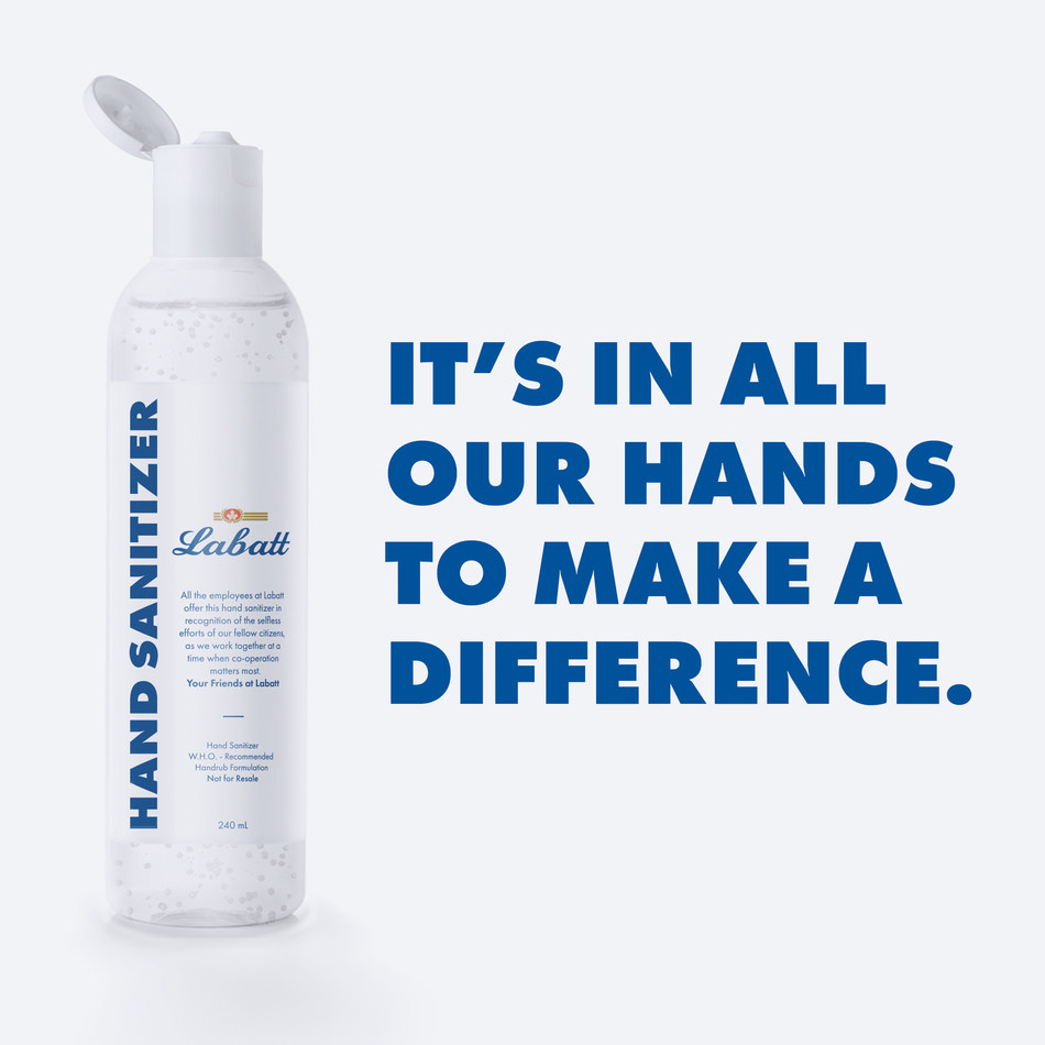 Labatt Breweries of Canada is in the process of shifting production from beer to hand sanitizer across the country in support of the national effort to combat the spread of COVID-19. (CNW Group/Labatt Breweries of Canada)