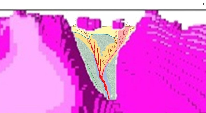 "Image E: Inset of 3D magnetic inversion model showing the V-shaped ""notch"" of presumed demagnetized dyke interpreted as the result of alteration commonly associated with low sulphidation epithermal systems. (CNW Group/Northern Shield Resources Inc.)"