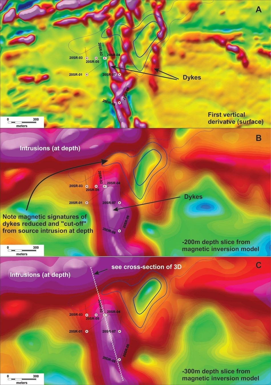 Image A-C: Depth Slices from airborne magnetic survey from surface to -30o meters showing magnetite destruction interpreted to be the resulted from epithermal alteration processes and veining. (CNW Group/Northern Shield Resources Inc.)