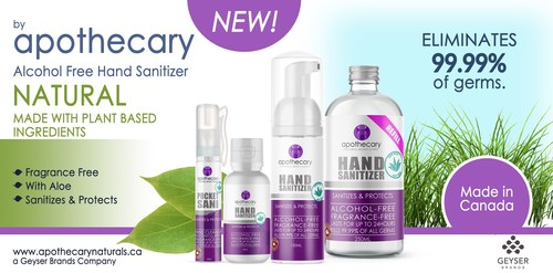 Geyser Brands Inc. Announces Launch of Alcohol-Free Hand Sanitizer (CNW Group/Geyser Brands Inc.)