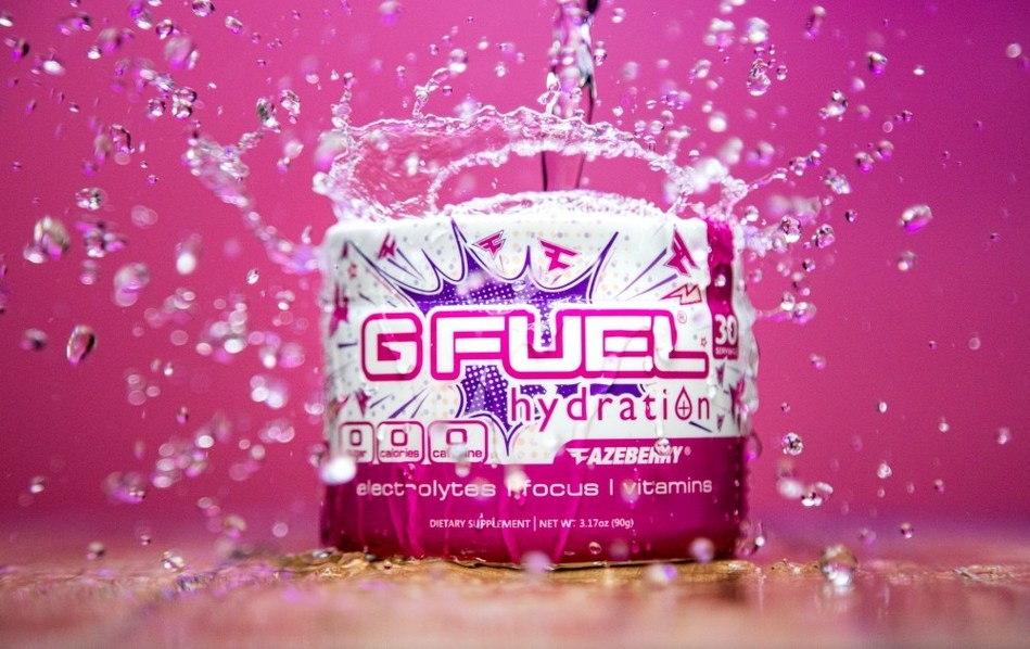 FaZeberry G FUEL Hydration is now available to buy at gfuel.com. This new G FUEL Hydration flavor combines the juicy strawberry, blueberry, and pomegranate taste of G FUEL's beloved FaZeberry energy formula flavor with the focus, energy, and hydration benefits of G FUEL's Hydration line.
