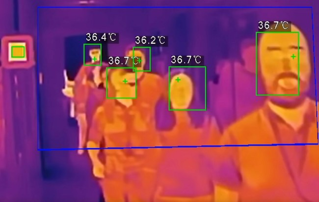 Thermal camera system can scan body temperatures on people as quickly as they can walk through to help identify individuals potentially infected by COVID-19 or other viruses