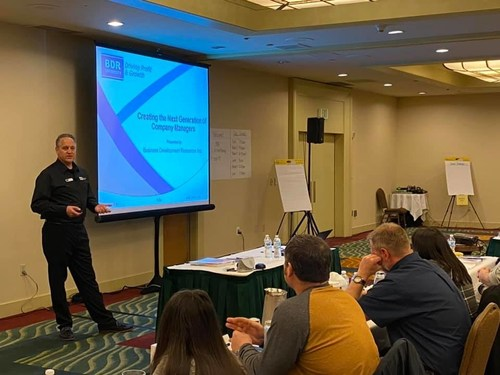 Leading HVAC business trainer BDR is offering a livestream QuickBooks workshop for contractors in April. Pictured: BDR trainer Chris Koch leads a session in December 2019.