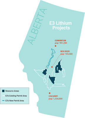 Figure 1: E3 Metals Alberta Lithium Project Permit Area Outline (CNW Group/E3 Metals Corp.)