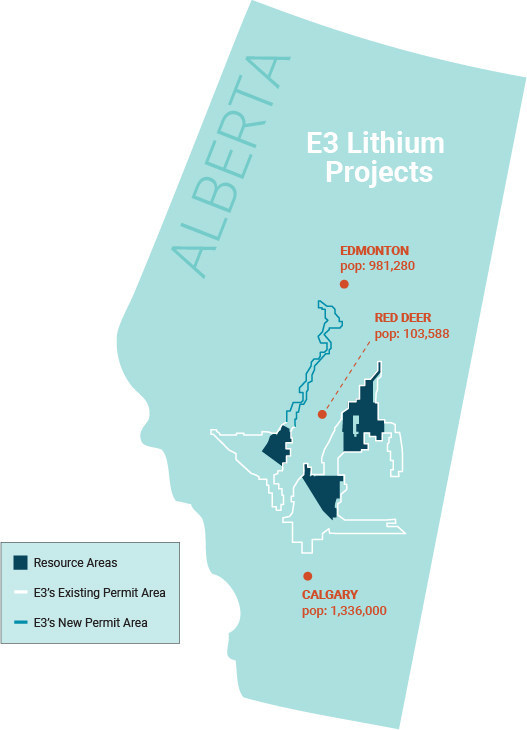 Figure 1: E3 Metals Alberta Lithium Project Permit Area Outline (CNW Group/E3 Metals Corp.)