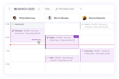 Activity Calendar: Quick view of customer conversations across team members