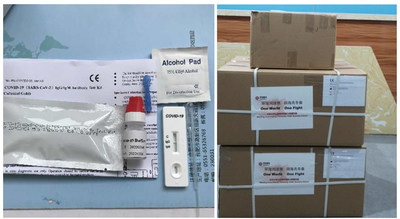 Test kits and shipping boxes