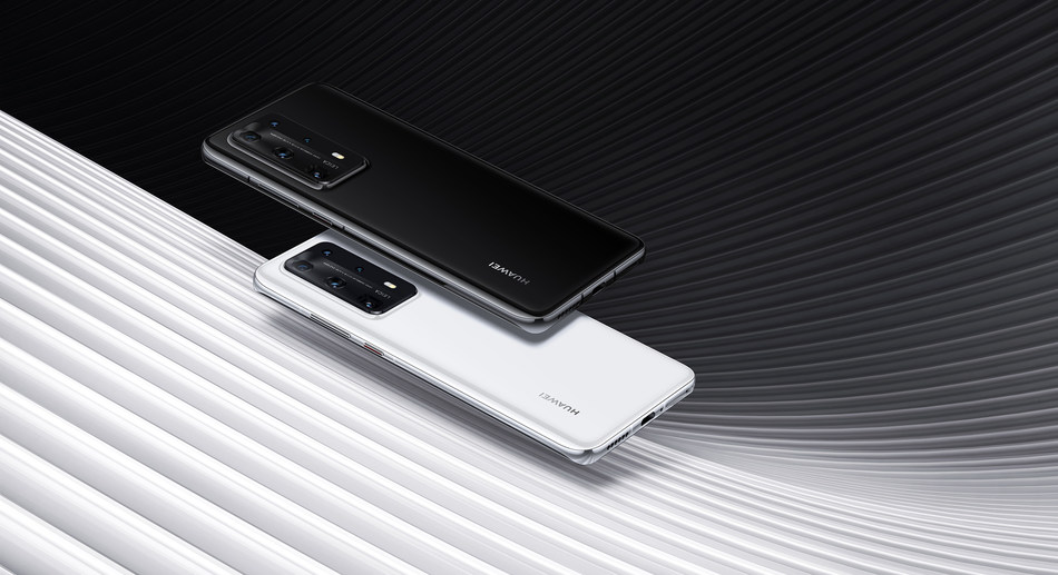 HUAWEI P40 Pro in Ice White and Black (PRNewsfoto/Huawei)