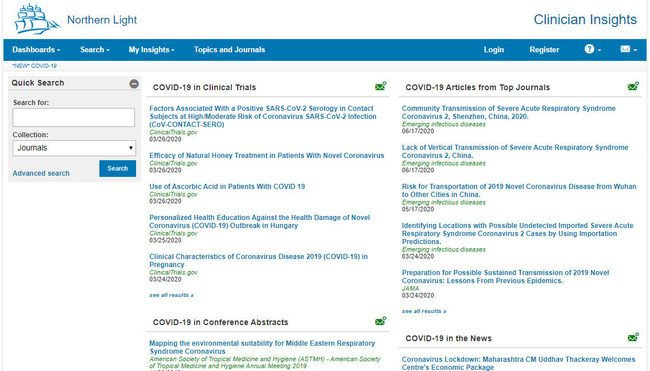 ClinicianInsights.com COVID-19 dashboard aggregates research related to the pandemic