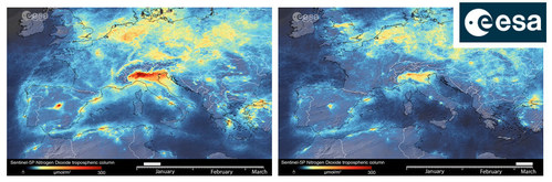 Copernicus Sentinel-5P satellite reveals the decline of air pollution, specifically nitrogen dioxide emissions over Po valley in the north of Italy.