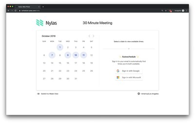 Nylas Scheduler includes a front-end, feature-rich calendar UI so providers can offer scheduling features in their applications and websites with minimal time and effort.