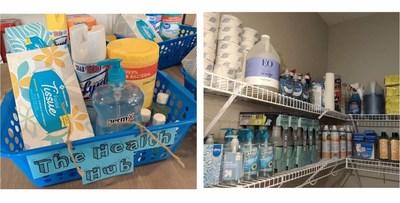 Um amplo fornecimento de desinfectantes e higienizadores em um campus da Amerigo