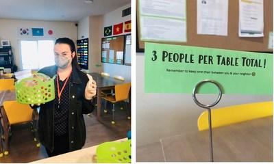 Los estudiantes respetan el distanciamiento social en los campus de Amerigo (PRNewsfoto/Amerigo Education)
