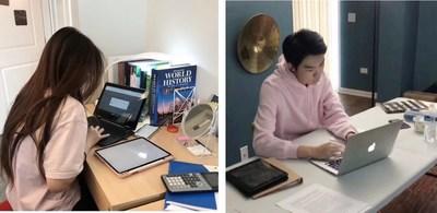 Los estudiantes de Amerigo continúan sus estudios en un entorno de aprendizaje en línea desde sus dormitorios (PRNewsfoto/Amerigo Education)