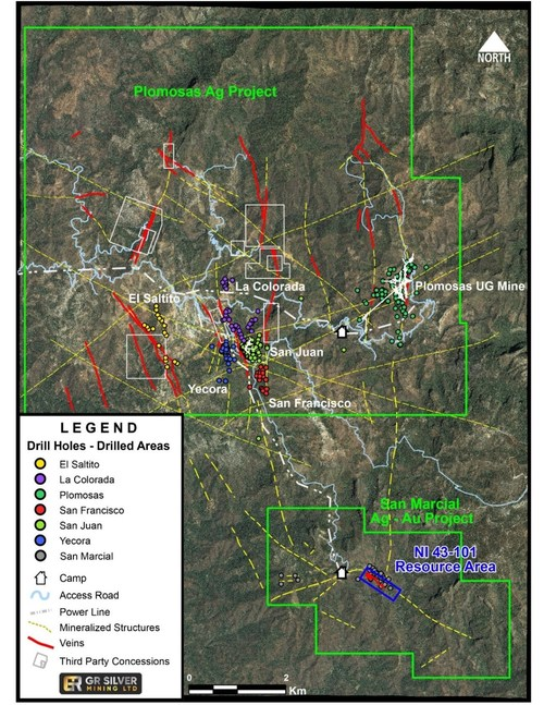 Figure 1: Landsat Image of Plomosas Silver Project – Known Veins – Mineralized Structures (CNW Group/GR Silver Mining Ltd.)