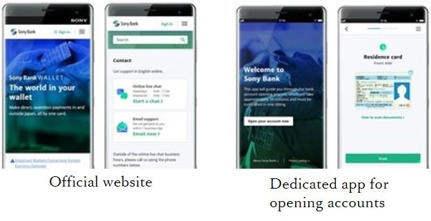 English online banking Screen Image Official website (left) and dedicated app for opening accounts (right)
