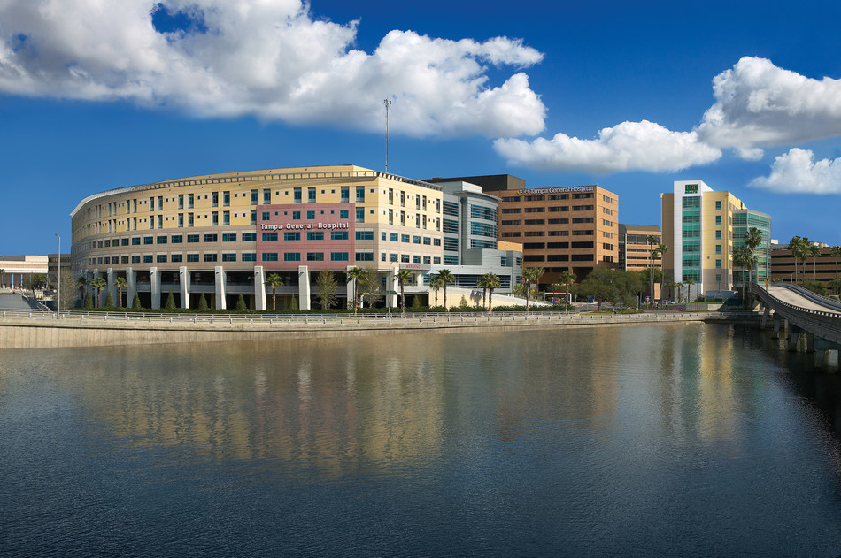 Tampa General Hospital Exterior with USF Medical Building taken from Davis Islands bridge