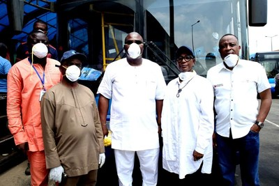 From left… Head Operations Primero Transport Services Limited, Mr Abiodun Apata; Director of Bus Services at Lagos Metropolitan Area Transport Authority (LAMATA), Dr Desmond Amiegbebhor; Managing Director of Primero, Mr Fola Tinubu; LAMATA Managing Director, Mrs Abimola Akinajo; and Managing Director of Safety and Protection Management Solutions Limited (authorised 3M distributor), Mr Tunji Olaniyi at the launch of free distribution of 3M nose masks to Lagos residents… on Friday