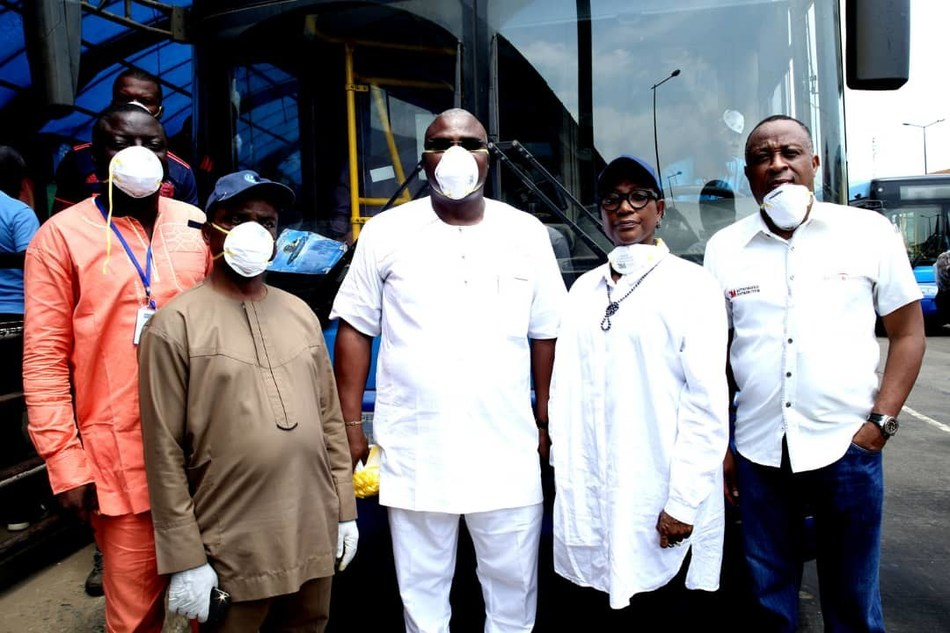 From left… Head Operations Primero Transport Services Limited, Mr Abiodun Apata; Director of Bus Services at Lagos Metropolitan Area Transport Authority (LAMATA), Dr Desmond Amiegbebhor; Managing Director of Primero, Mr Fola Tinubu; LAMATA Managing Director, Mrs Abimola Akinajo; and Managing Director of Safety and Protection Management Solutions Limited (authorised 3M distributor), Mr Tunji Olaniyi at the launch of free distribution of 3M nose masks to Lagos residents… on Friday (PRNewsfoto/Safety and Protection Managemen)