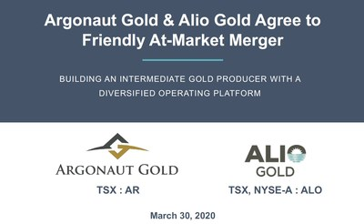 Argonaut Gold & Alio Gold Agree to Friendly At-Market Merger (CNW Group/Argonaut Gold Inc.)