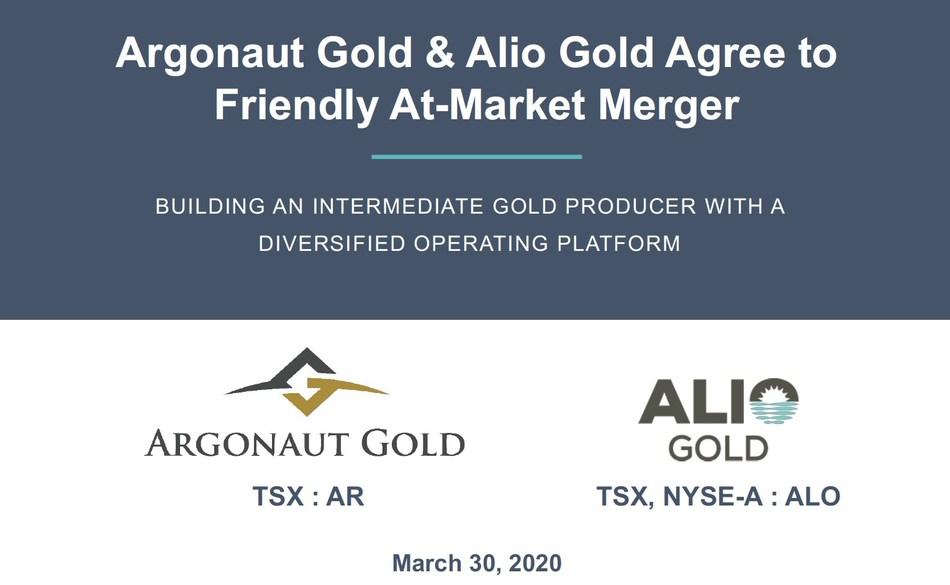Argonaut Gold & Alio Gold Agree to Friendly At-Market Merger (CNW Group/Argonaut Gold Inc.)