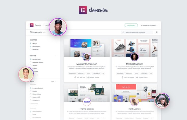 Elementor's Experts platform in action.