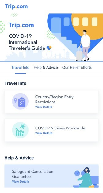The all-new Trip.com COVID-19 International Traveler's Guide (pictured).