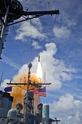 An SM-3® Block IB interceptor launches from the USS Lake Erie during a Missile Defense Agency test designed to hit a complex, short-range ballistic missile target. (Photo: Missile Defense Agency)